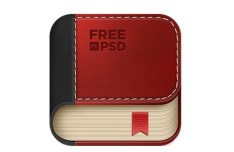 Leather Book App Icon PSD