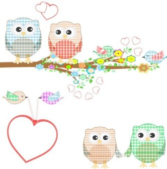 Vector Illustration Of Cute Owls with Hearts 03