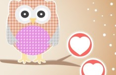 Vector Illustration Of Cute Owls with Hearts 04
