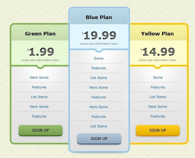 Flat Pricing Table Design Template PSD
