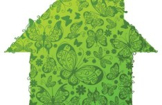 Green ECO Concept Floral House Vector