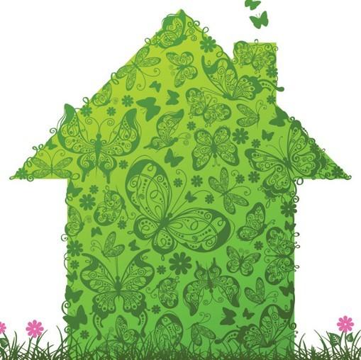 Green ECO Concept Floral House Vector