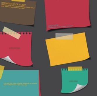 Set Of Vector Colored Sticky Notes 01