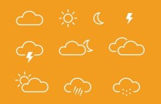 Simple Line Weather Icons PSD