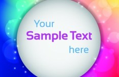 White Circular Text Frame With Colored Halos Background Vector 02