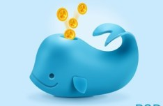Blue Coins Whale PSD
