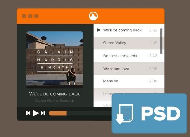 Flat Grooveshark Mini Player PSD