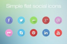 Circular Social Media Icons With Flat Long Shadows PSD