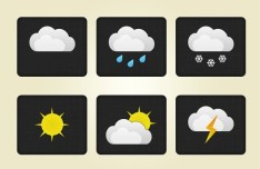 Collection Of Rounded Weather Icons PSD