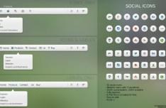 Pack Of 3 Web Menus + 30 Social Media Icons PSD