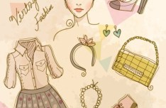 Vector Vintage Illustration Of Fashion Girl and Women's Accessories 01