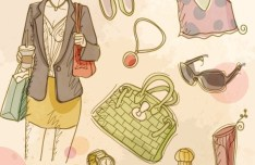Vector Vintage Illustration Of Fashion Girl and Women's Accessories 03