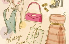 Vector Vintage Illustration Of Fashion Girl and Women's Accessories 04