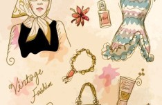 Vector Vintage Illustration Of Fashion Girl and Women's Accessories 07