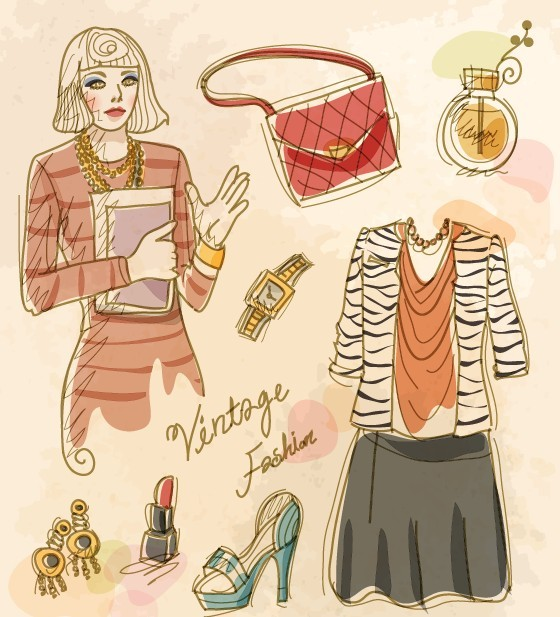 Vector Vintage Illustration Of Fashion Girl and Women's Accessories 10