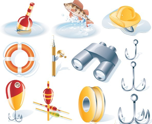 Set Of Vector 3D Fishing Icons
