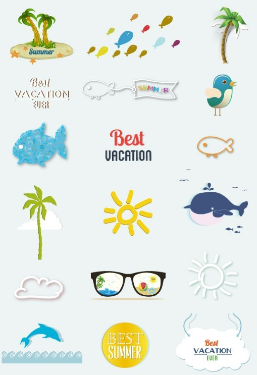 Set Of Clean Happy Summer Vacation Design Elements Vector