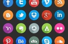 Circle Social Media Icons With Long Shadows PSD