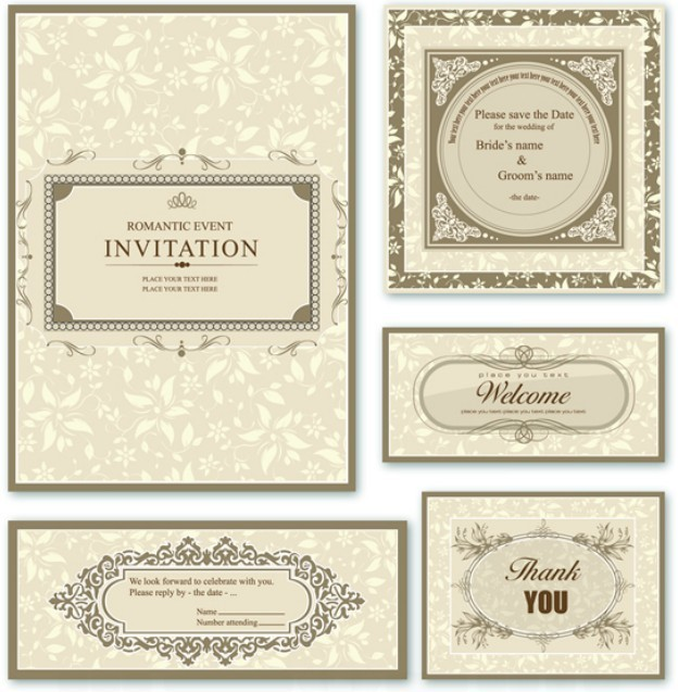 Free Elegant Wedding Invitation Card Design Vector 01 Titanui