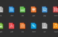 Flat File Type Icon Set PSD