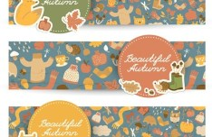 Set Of Vector Beautiful Autumn Banners 01