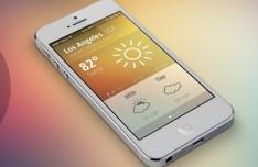 iOS 7 Style Weather App GUI PSD