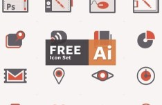 Flat Web Icon Set Vector