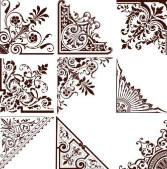 Set Of Vintage Floral Corner Ornaments Vector 01