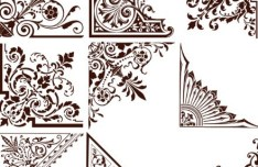Set Of Vintage Floral Corner Ornaments Vector 01