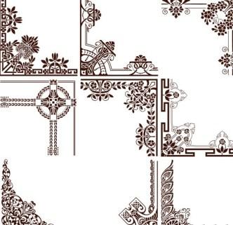Set Of Vintage Floral Corner Ornaments Vector 02