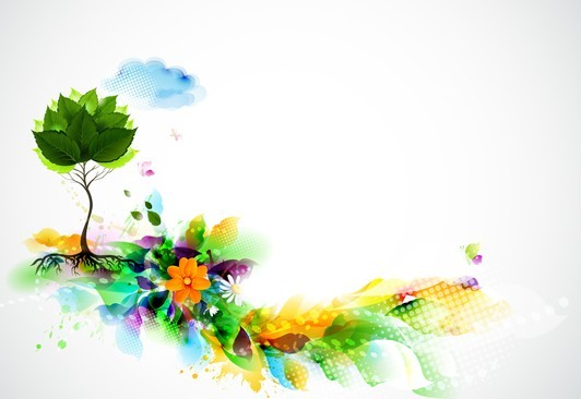 Bright & Colorful Grunge Splash Flower Background Vector 02