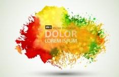 Bright & Colorful Grunge Splash Flower Background Vector 03