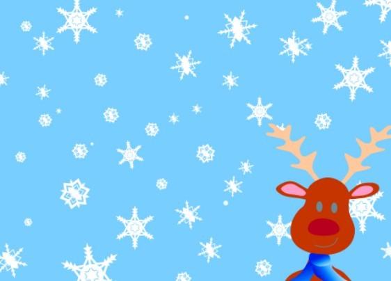Free Cartoon Christmas Elk And Snowflakes Background