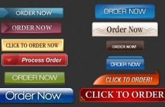 Glossy Order Now Button Collection PSD