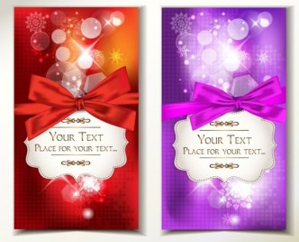 Set Of Vector Exquisite Gift Cards with Ribbon Bows 01