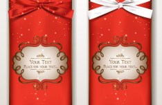 Set Of Vector Exquisite Gift Cards with Ribbon Bows 02