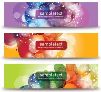 Set Of Vector Gorgeous Banners with Flourish Backgrounds