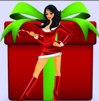 Set of Sexy Santa Girls and Red Gift Boxes Vector 01