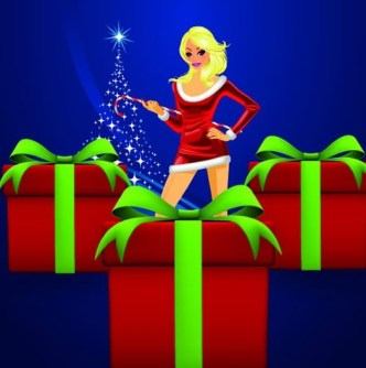 Set of Sexy Santa Girls and Red Gift Boxes Vector 02