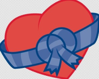 Red Heart with Blue Ribbons Vector