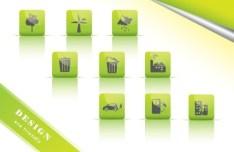 ECO Concept Green Icon Set Vector 05