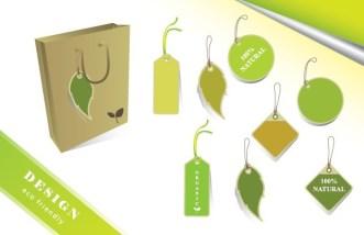 ECO Friendly Green Label Tag Set Vector