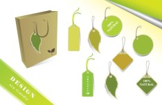 ECO Friendly Green Label Tag Set Vector