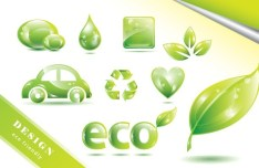 ECO Friendly Green Symbol Set Vector 04