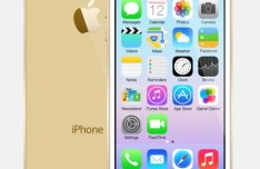 Gold iPhone 5S with iOS 7 PSD Template