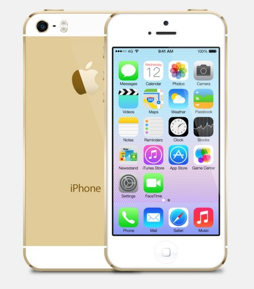 Free Gold iPhone 5S with iOS 7 PSD Template PSD - TitanUI