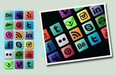 Multi-Colored Social Media Icon Set PSD
