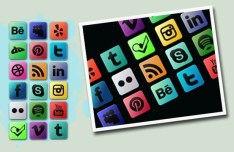 Multi-Colored Social Media Icon Set PSD