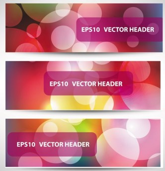 Set Of Vector Stylish Banners with Fantastic Bubbles Background
