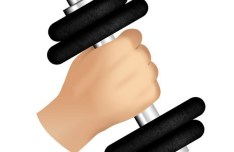 Hand and Dumbbell Icon PSD